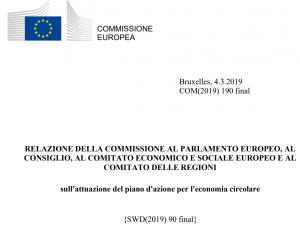 Copertina della relazione della commissione al Parlamento Europeo, al Consiglio, al Cmitato Economico e Sociale Europeo e al Comitato delle Regioni sull'attuazione del piano d'azione per l'economia circolare.
